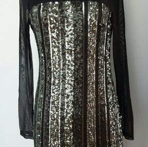 Black sheer/sequin dress